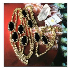 RARE Kendra Scott Black/Gold Kelsi Necklace